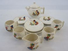 Child's part tea servicecomprising teapot, four cups and saucers and milk jug 'Dolly's Bedtime', '