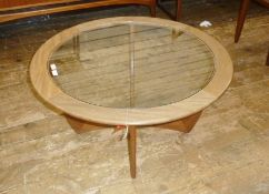 G-Plan circular glass-topped coffee table 'Astro', 83.5cm diameter Condition ReportThe table appears