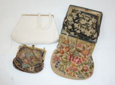 Vintage petit point evening bag with gilt metal fixed frame, with faux pearl detail and coloured