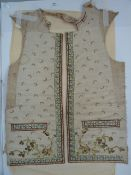 Part Georgian waistcoat, embroidered silk front panels with blue floral edges, all over pink sprig