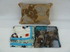 Two silk scarves and an appliqued cushion embroidered with faux-seed pearls and gold thread (3)