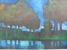 Bill Young 1929 -2012 oil on canvas River landscape with tree reflections, 80 cms x 120 cms,