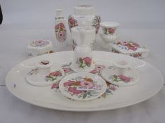 Wedgwood 'Meadow Sweet' dressing table set, matching items ,a pottery dish, a Franz trinket dish, a