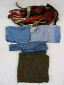 Various vintage braces, gent's silk hankies, scarves, etc (1 box)