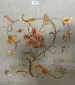 20th century floral embroidery in yellow and orange, in rectangular frame, 52cm x 58cm and another