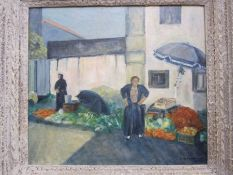 P Blackmon (20th century school) Oil on board Market scene, signed lower right and dated 1996,