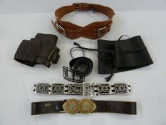 Selection of leather belts including a wide brown plaited leather, a black leather Obi-style