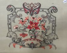 20th century embroidery with floral and scroll cartouche, in red, pink and grey, 53cm x 45.5cm, in