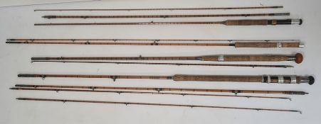 Hamlin of Cheltenham cane fishing rodin canvas case, a Farlow & Co Ltd 'Jubilee' split cane rod