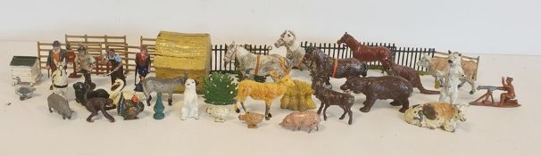 Britains lead farm animals and other animals to include kangaroos, bears, etc, farm gates and a