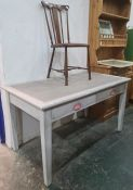 Grey painted desk/table and a single mahogany and inlaid bedroom chair (2)