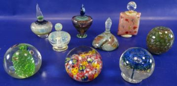********* WITHDRAWN ***************Five various multicoloured glass scent bottlesand four glass