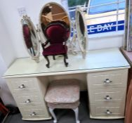 Modern cream dressing table, dressing table stool, three-part cream and gilt mirror and miniature