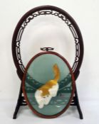 Chinese hardwood oval frameon stand with pierced and carved decoration and with associated