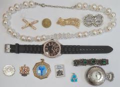 Large quantity of assorted costume jewellery including simulated pearls, beads, cuffs, etc (2 boxes)