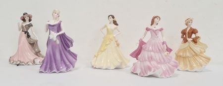 Coalport Sentiments figures 'Peaceful Wish', 'Thinking of You', 'My Love','Birthday Wishes'and '