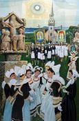 """Richard Slater (b.1927) Watercolour """"Breton Festival"""", signed lower left, bears 'The Mall Gallery'"""