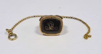 Gold-coloured seal pendant with chain (unmarked), initialled