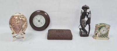 Eastern carved hardwood trinket box, rectangular, aneroid barometer, ceramic decorative egg,