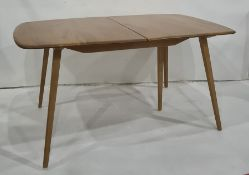 Ercol extending dining table on beech supports, leaves missing (154 x 90cm) Condition ReportThe