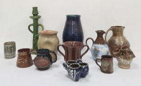 Quantity of 20th century studio potteryto include jugs, vases, mugs, etc