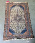 Eastern rug, the cream ground central field with allover flower decoration, on a stepped border,