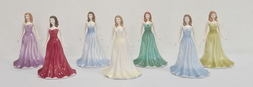 Royal Doulton The Gemstones Collection figures'May Emerald', 'June Pearl', 'February Amethyst', '