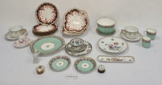 Mixed lotto include Aynsley teacup, saucer, Limoges cups and saucers, a part tea service with green
