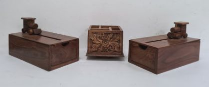 Pair of hardwood novelty boxes, of rectangular drawer design and opened by pushing the model train