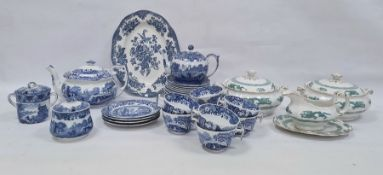 Quantity of Spode 'Italian' pattern tablewareincluding a teapot of shaped rectangular form, a