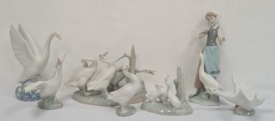 Lladro figure group of three ducks by Reeds, a Lladro duckabout to take flight, two other model