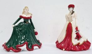 Coalport 'Merry Christmas 2011' figure, hand decorated modelled by Jack Glynn and a Coalport '