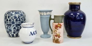 20th century royal blue glazed pottery vasewith plated rim and base, a Wedgwood blue and white