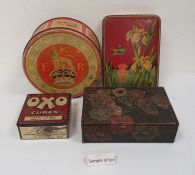 Quantity of vintage tins including OXO Cubes, a Peek Frean & Co coronation tin, a leather stamp