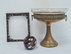 Brass picture frame decorated with enamel scrolls and applied paste, 26.5 x 21.5cm, a brass bowl,