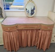 20th century dressing table finished in pink fabric, 122cm x 77.5cm together with a dressing table