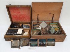 Oak case and contents of lantern slides,a pine box and contents of lantern slides, including