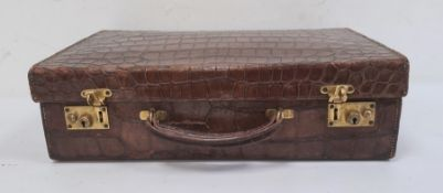 Early 20th century small alligator skin briefcase