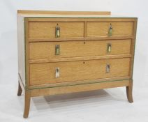 20th century light oak Art Deco style bedroom chest of three drawers and dressing chest with three-