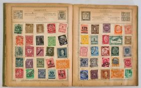 Rowland Hill stamp album in reasonable condition with a few hundred 'Junior' used stamps - value