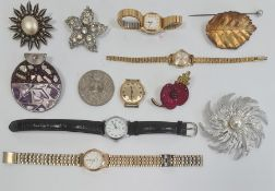 Quantity of assorted costume jewelleryincluding a statement necklace of purple beads, a diamante