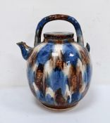 20th century large blue and brown treacle type glazed teapot, ovoid shaped, with short spout, 33cm