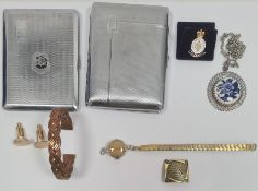 Small collection of items to include gold-plated cufflinks, Armed forces pin badge, two copper