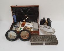 Pair of Swift Triton 7x.35 binoculars, a quantity of shells, two pot lids, a leather suitcase and
