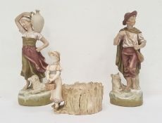 Royal Worcester figural vasemodelled as a girl in a bonnet with basket, next to a tree stump,