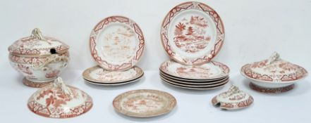 Victorian Grainger & Co Worcester part table service with printed marks, bearing the date letter for
