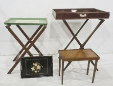 Butler's tray on stand, a folding luggage stand and a folding travel table, plus two painted
