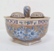 19th century French porcelain inkstand of quatrefoil shape and fitted seal and pair inkwells, blue