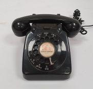 Mid 20th century black plastic telephone