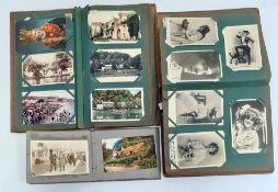 Postcard album and contents of early 20th century and later postcards including a collection